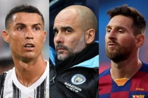 Cristiano Ronaldo of Juventus, Pep Guardiola of Manchester City, Lionel Messi of FC Barcelona