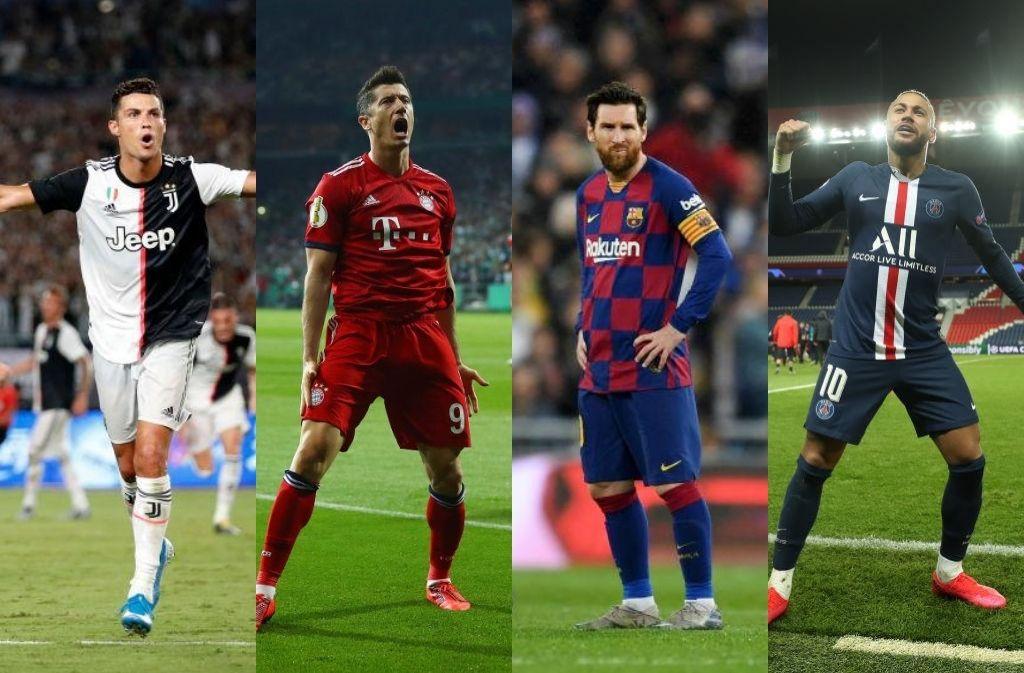 neymar, lewandowski, ronaldo, messi