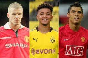 David Beckham, Jadon Sancho, Cristiano Ronaldo, Manchester United