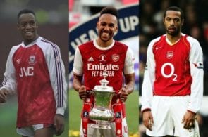 Pierre-Emerick Aubameyang, Ian Wright, Thierry Henry, Arsenal