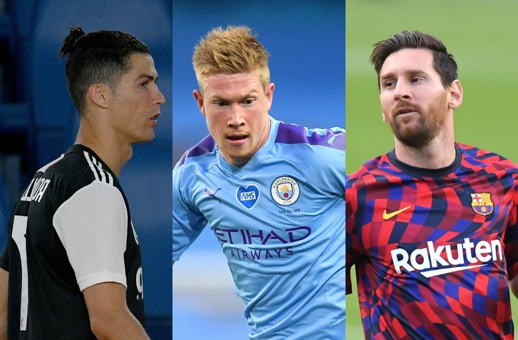 Cristiano Ronaldo of Juventus, Kevin De Bruyne of Manchester City, Lionel Messi of FC Barcelona