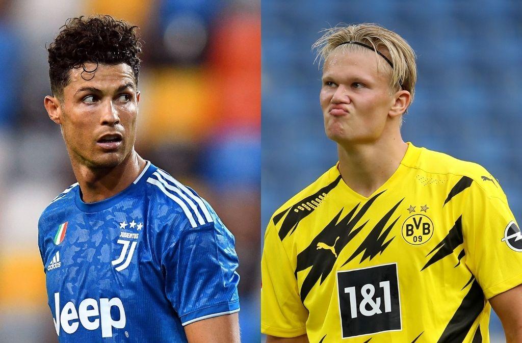Cristiano Ronaldo of Juventus, Erling Haaland of Borussia Dortmund