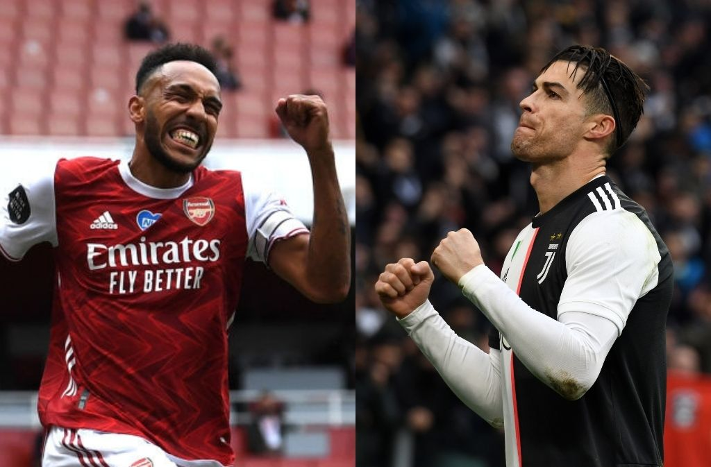 Pierre-Emerick Aubameyang of Arsenal, Cristiano Ronaldo of Juventus