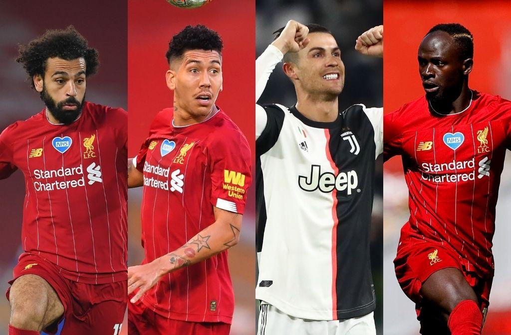 Mohamed Salah, Roberto Firmino, Sadio Mane of Liverpool - Cristiano Ronaldo of Juventus