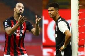Zlatan Ibrahimovic of AC Milan, Cristiano Ronaldo of Juventus