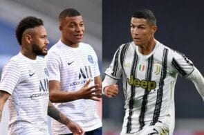 Neymar & Kylian Mbappe of Paris Saint-Germain, Cristiano Ronaldo of Juventus