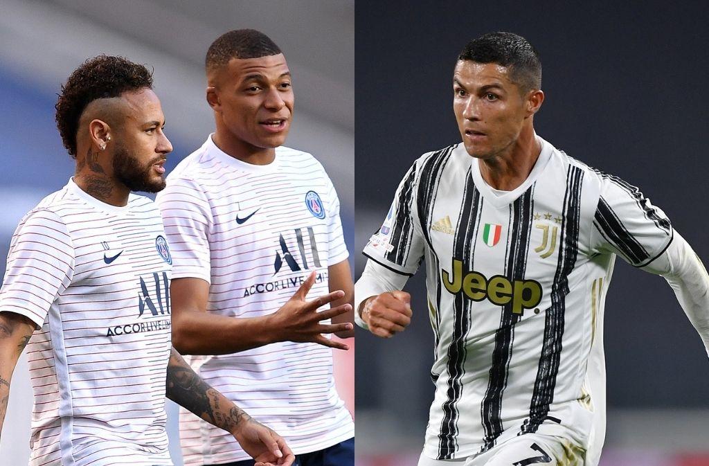 Neymar & Kylian Mbappe of Paris Saint-Germain, Cristiano Ronaldo of Juventus