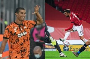 Cristiano Ronaldo of Juventus, Bruno Fernandes of Manchester United