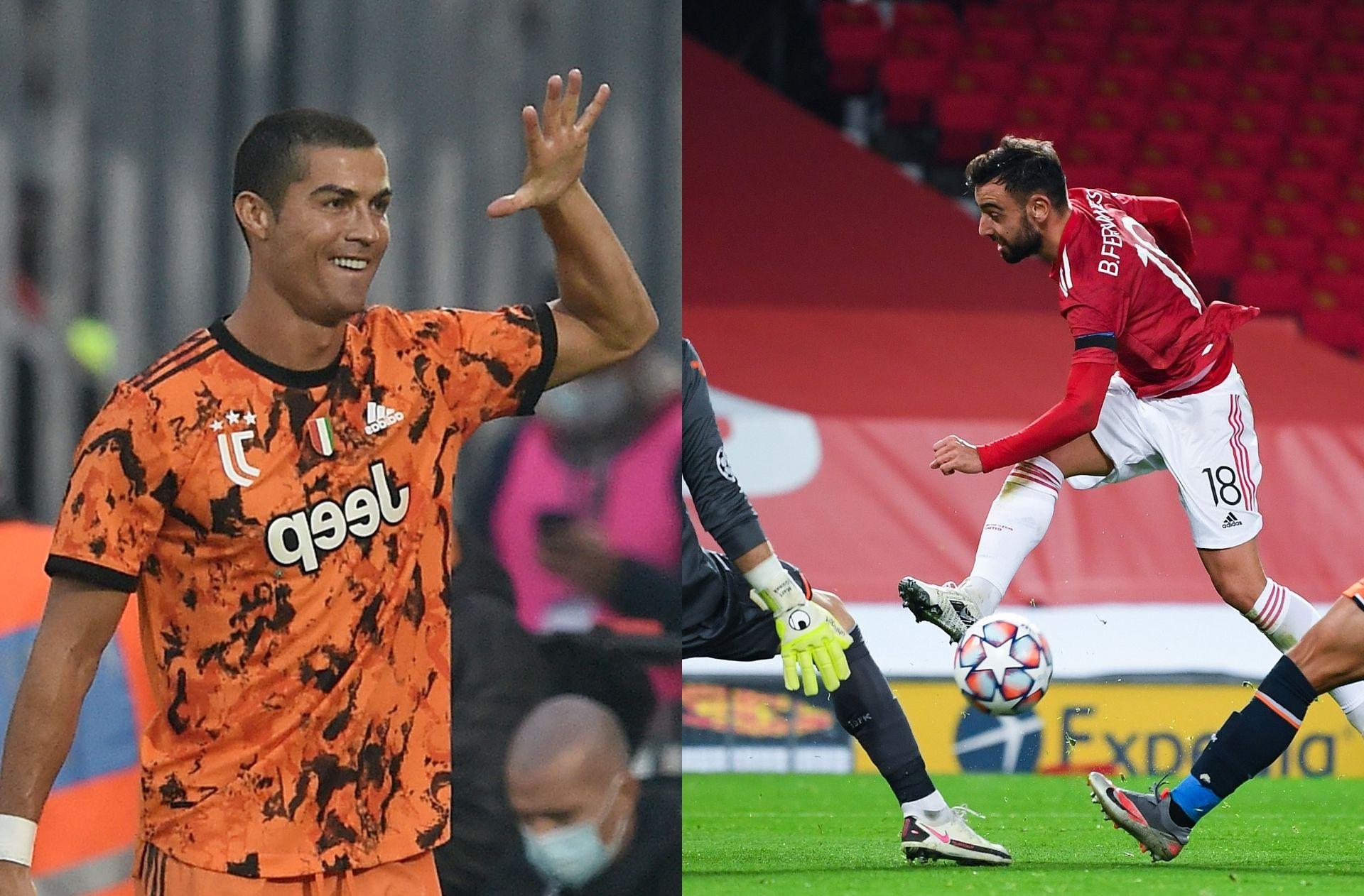 Cristiano Ronaldo of Juventus, Bruno Fernandes of Manchester United