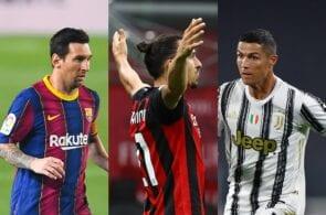 Lionel Messi of FC Barcelona, Zlatan Ibrahimovic of AC Milan, Cristiano Ronaldo of Juventus