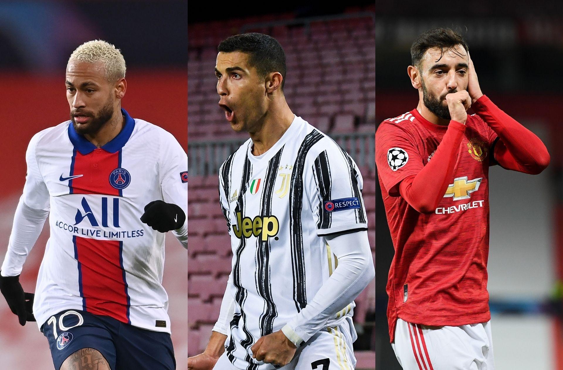 Neymar of Paris Saint-Germain, Cristiano Ronaldo of Juventus, Bruno Fernandes of Manchester United