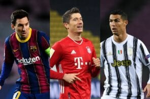 Lionel Messi of FC Barcelona, Robert Lewandowski of Bayern Munich, Cristiano Ronaldo of Juventus