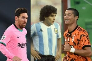 Lionel Messi of FC Barcelona, Diego Maradona, Cristiano Ronaldo of Juventus