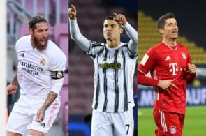 Sergio Ramos of Real Madrid, Cristiano Ronaldo of Juventus, Robert Lewandowski of Bayern Munich