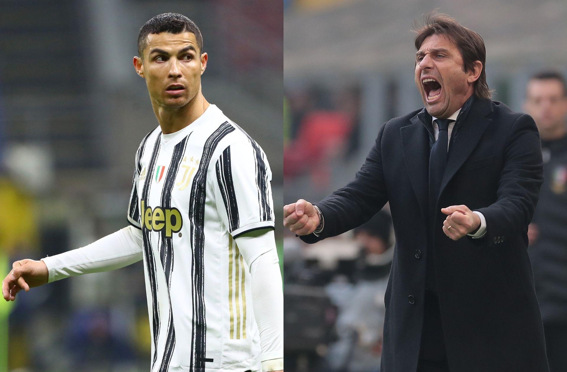 Cristiano Ronaldo of Juventus, Antonio Conte of Inter Milan