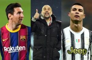 Lionel Messi, Pep Guardiola, Cristiano Ronaldo