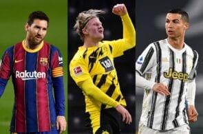 Lionel Messi of FC Barcelona, Erling Haaland of Borussia Dortmund, Cristiano Ronaldo of Juventus