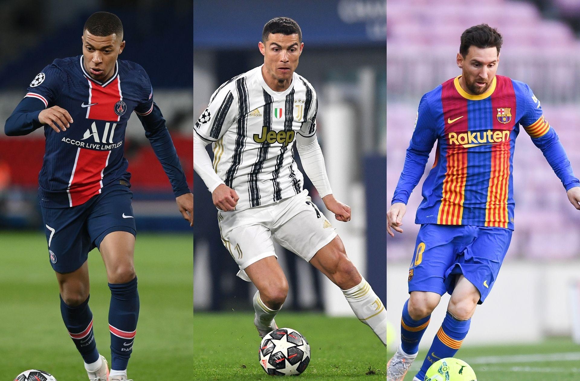 Mbappe of PSG, Ronaldo of Juventus, Messi of Barcelona