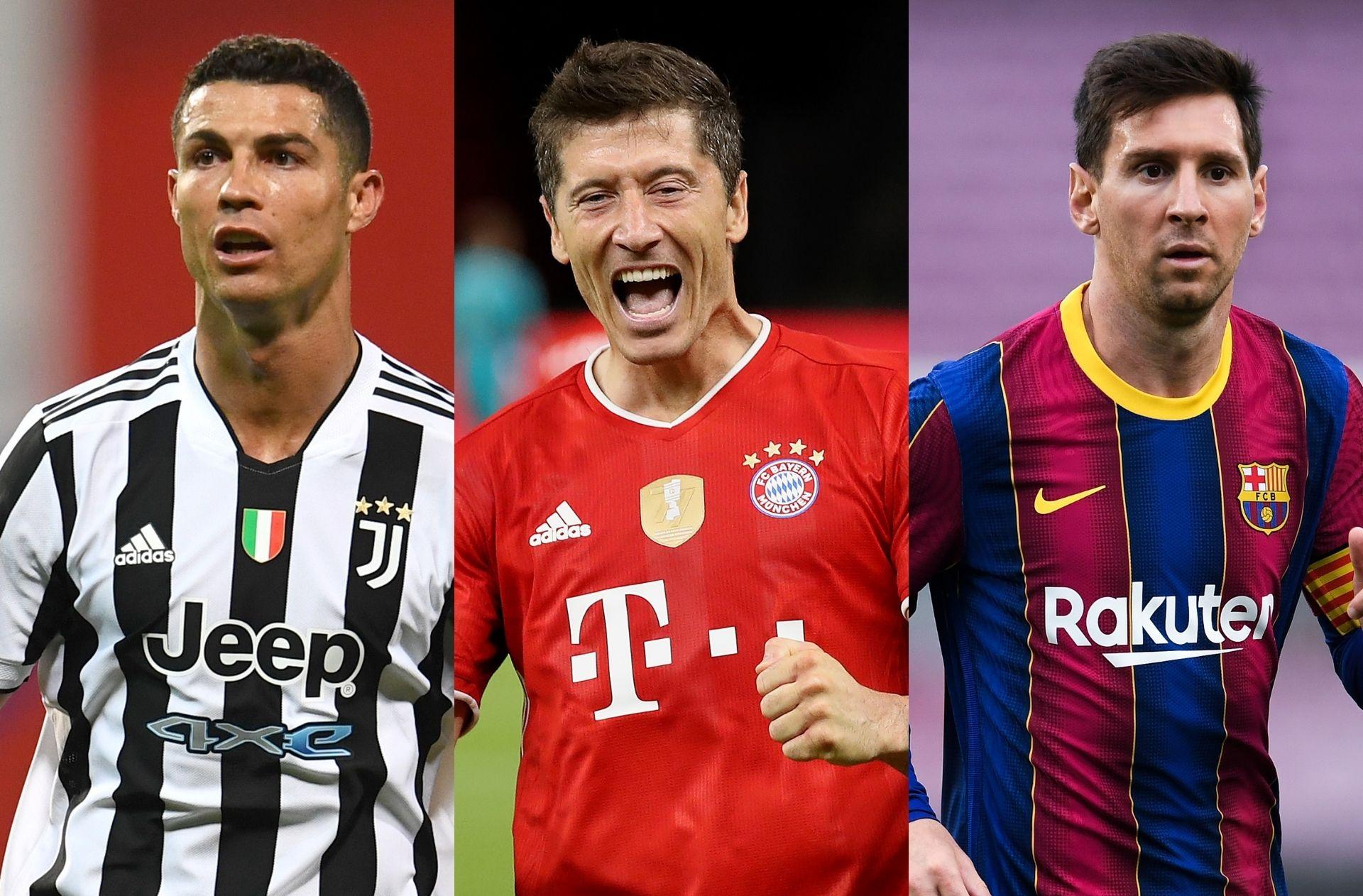 Cristiano Ronaldo, Robert Lewandowski, Lionel Messi