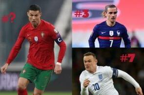 Ronaldo - Portugal, Griezmann - France, Rooney - England