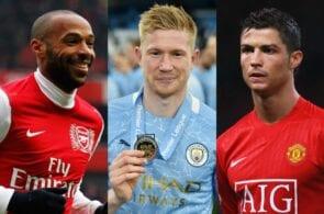 Thierry Henry, Kevin De Bruyne, Cristiano Ronaldo