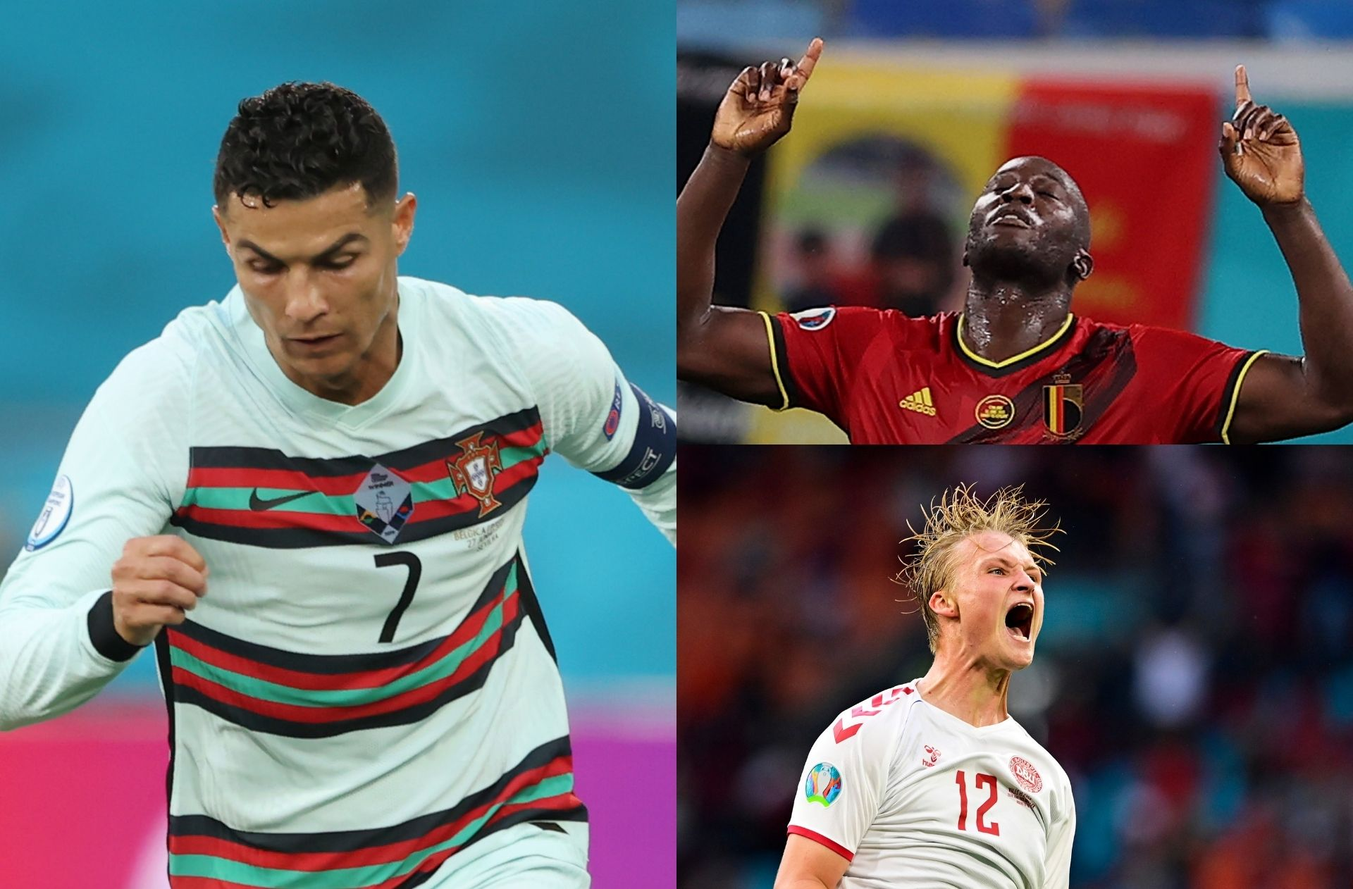Cristiano Ronaldo, Romelu Lukaku, Kasper Dolberg